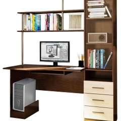 Стол оснащён полками для книг и документов и небольшим выдвижным ящичком на уровне клавиатуры, что экономит ваше время на поиски необходимых мелочей. Благодаря небольшим габаритам этот предмет мебели подойдёт для любо